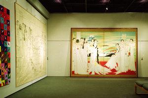 1997年6月 「≪所有≫の所在」展で『壁畫に集ふ』の屏風と下絵を並べたところ