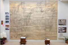 金猊馬考「薫風」大下絵と写真パネル
