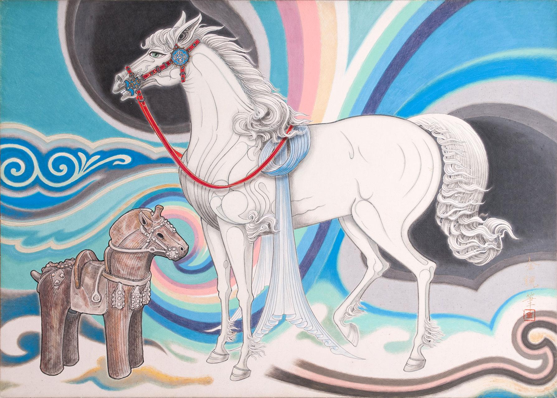 <br /> 白馬と埴輪の馬之図