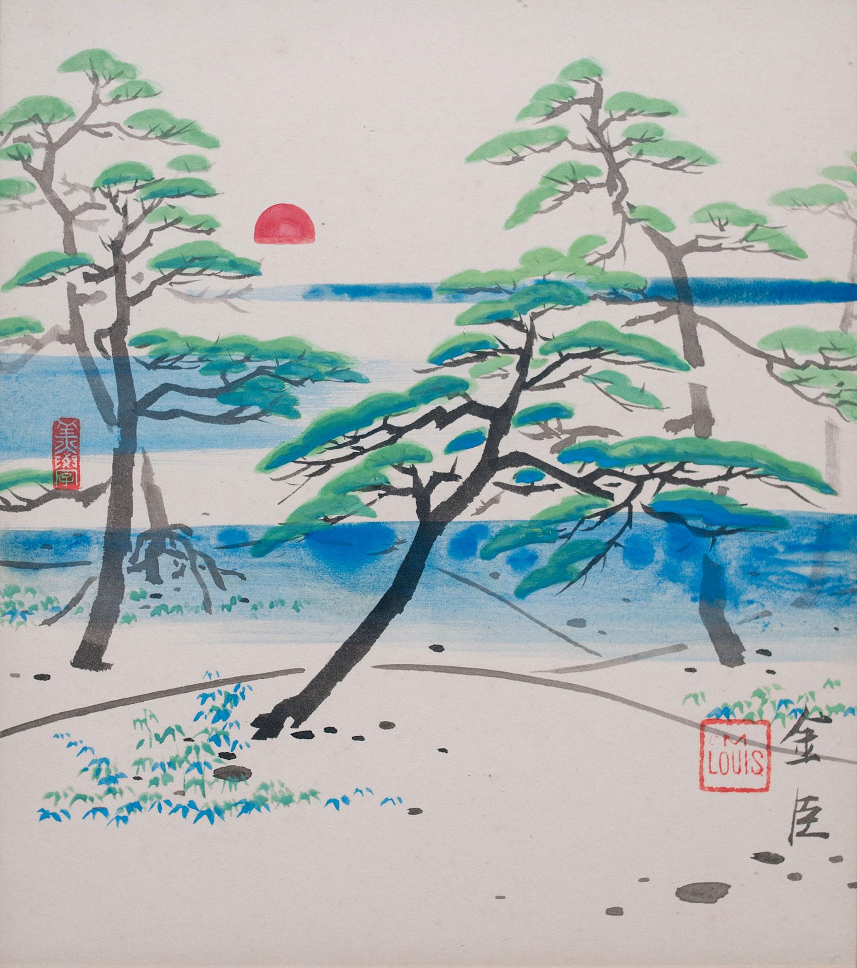 夕日に松* - Pine in the Sunset