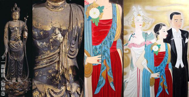 聖林寺の十一面観音像と丸井金猊「観音圖*」の霊子、ストール比較