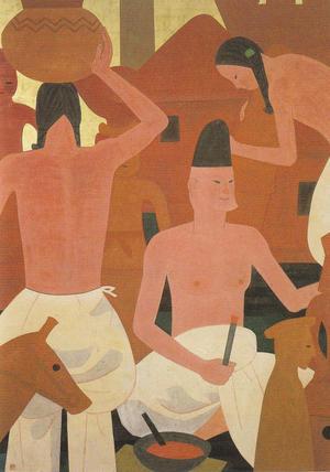 羽石光志《土師部》1955年 242.0×183.0cm