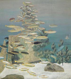 稗田一穂《魚の群れ》1950年