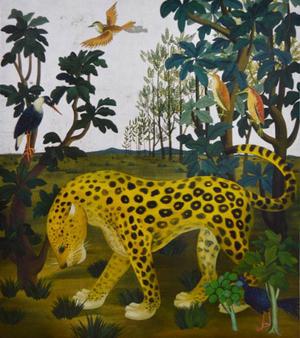 稗田一穂《豹のいる風景》1952年