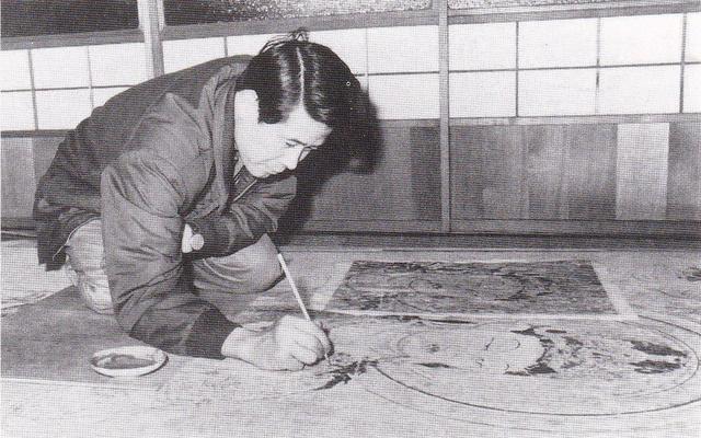法隆寺金堂壁画(第3号壁)を再現中の平山郁夫 1967年