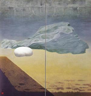 岩橋英遠《庭石 月》1953年 150×142cm