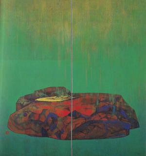 岩橋英遠《庭石 雨》1953年 150×142cm