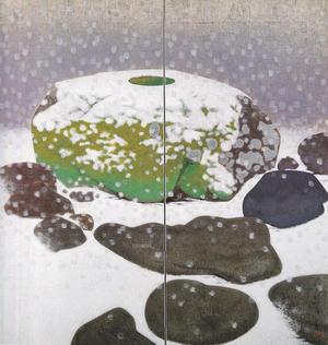 岩橋英遠《庭石 雪》1953年