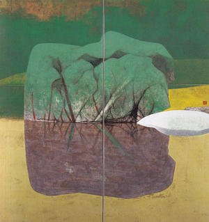 岩橋英遠《庭石 水》1953年 150×142cm