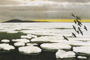 岩橋英遠《北の海 氷》1980年