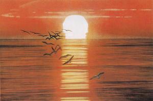 岩橋英遠《北の海 陽》1980年