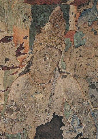 第1窟 蓮華手菩薩像 原画:荒井寛方筆 木版色刷