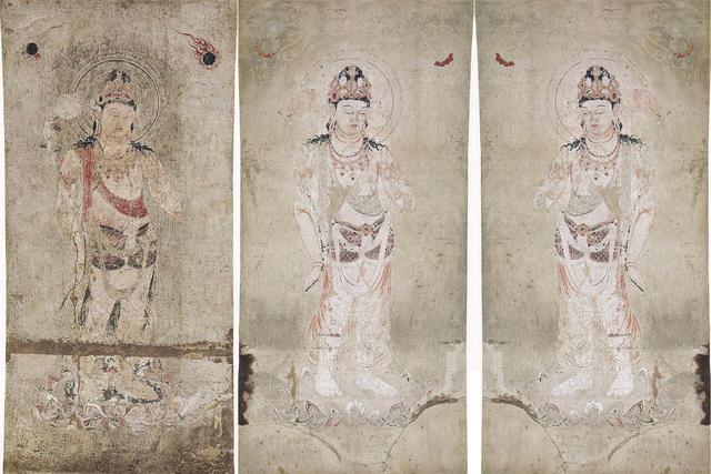 法隆寺金堂壁画 第3号壁 観音菩薩像+第4号壁 勢至菩薩像(反転)+同4号壁