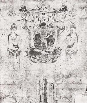 法隆寺金堂壁画 第6号壁 阿弥陀浄土図 コロタイプ印刷