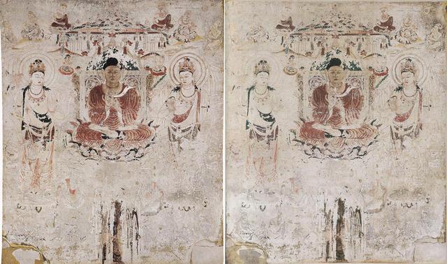 法隆寺金堂壁画 第6号壁 阿弥陀浄土図 ㊧再現壁画 昭和42年(1967年) ㊨旧壁画模写 昭和15年(1940年)頃