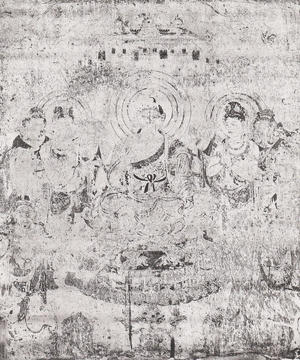 法隆寺金堂壁画 第9号壁 弥勒浄土図 コロタイプ印刷