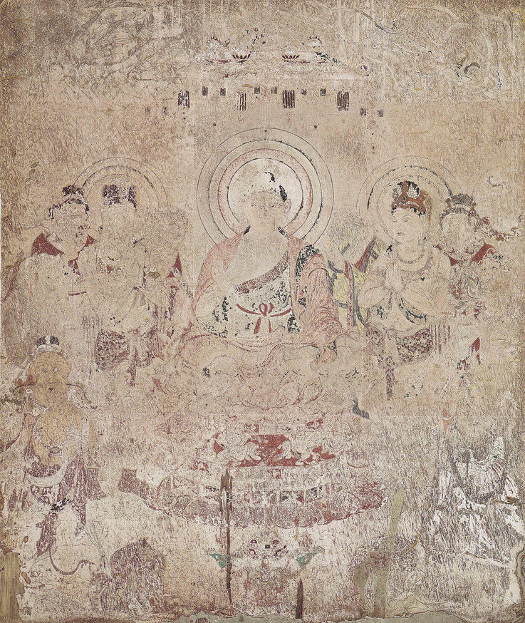 法隆寺金堂壁画 再現壁画 第9号壁 弥勒浄土図(橋本明治)