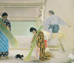 野島青茲《蓙織》1938年 東京藝術大学蔵