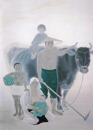 野島青茲《農村風景》1941年 平野美術館蔵