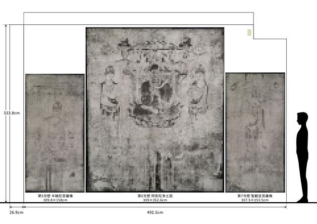 丸井金猊「写と想像⇄創造展」展 西側壁面 - 法隆寺金堂壁画 第5・6・7号壁プリント